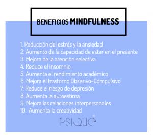 lista de 10 beneficios meditación mindfulness